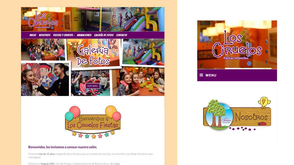 Diseño web para Los Ciruelos Fiestas
